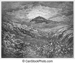 The Egyptians are drowned in the Red Sea - Picture from The...