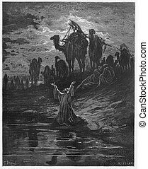 The prayer of Jacob - Picture from The Holy Scriptures, Old...