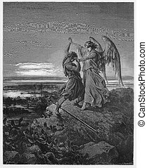 Jacob wrestles with the angel - Picture from The Holy...