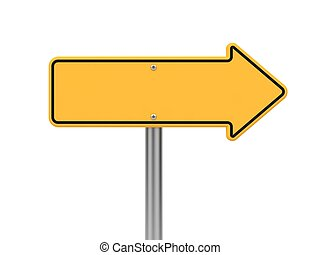 Directional Arrow Road Sign. Isolated on White.