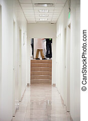Hospital Corridor - Passageway of hospital with low section...