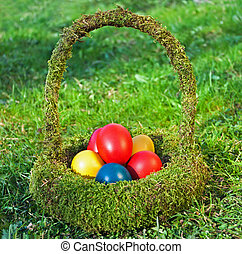 Colored eggs - Colorful Easter eggs in the basket