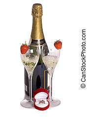 Champagne and ring for valentines day cutout