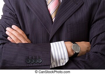 Arms across close up Business man in suit