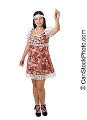 dress of folksy cut - woman in dress of folksy cut on a...