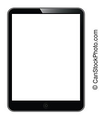 tablet PC - black tablet PC isolated on white background....