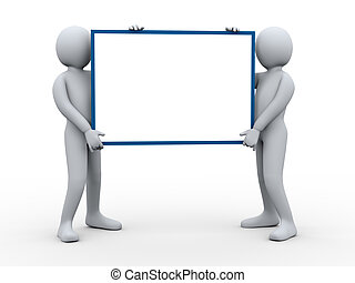 3d people holding blank poster