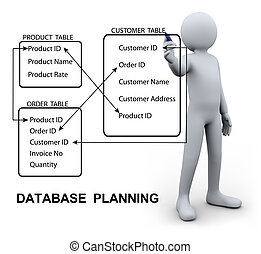 3d man writing database plan - 3d Illustration of person...