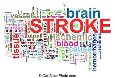 Word tags of brain stroke - Illustration of brain stroke...