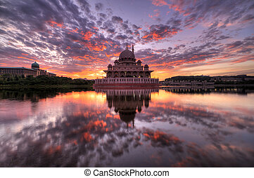 Sunrise at Putra Mosque, Malaysia - Putra Mosque is one of...