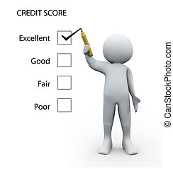 3d person and credit score - 3d Illustration of man rating...