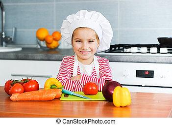 Little girl preparing healthy food