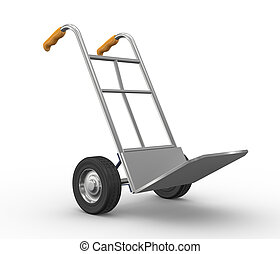 3d hand truck - 3d illustration of hand truck side view
