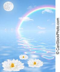 Heavenly Fantasy - Fantasy abstract of a blue sky, rainbow,...