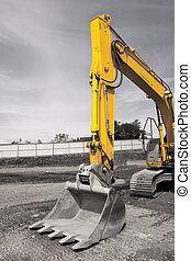 Excavator Bucket - Metal yellow industrial digger, standing...