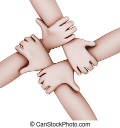 3d interlocked people four hands - 3d top view illustration...