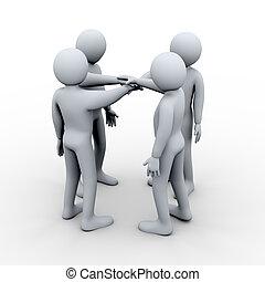 3d people holding hands together - 3d illustration of men...