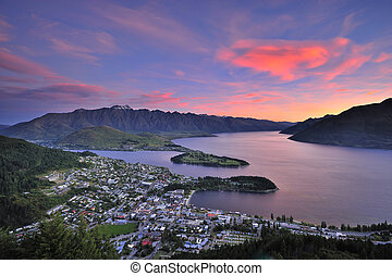 Queenstown, New Zealand at dusk - The birds eye view of...