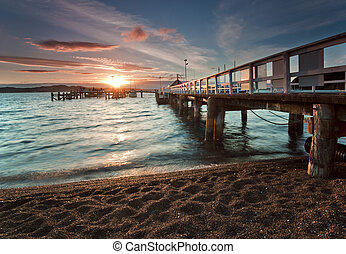 Sunset at Russell, New Zealand - View of sunset from wharf...