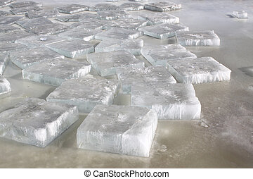 ice in the river, north china
