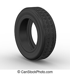 3d tyre - car wheel - 3d rendering of detail tyre on white...