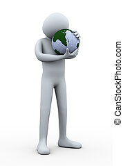 3d man globe hug. Concept of save earth