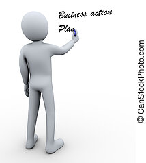 3d man writing business action plan