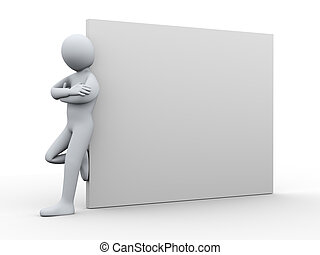 3d man standing with blank poster - 3d illustration of...