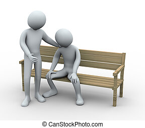 3d man giving sympathy to his friend - 3d illustration of...