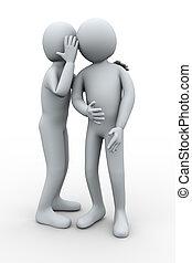 3d man whispering