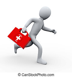 3d man running with first aid kit - 3d illustration of...