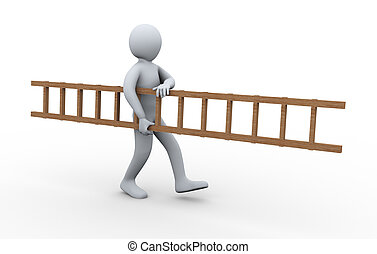 3d man carrying ladder - 3d illustration of person carrying...