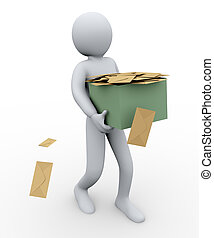 3d man and envelopes box - 3d illustration of person taking...