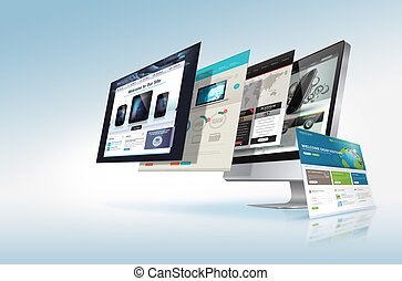 Web design concept - Webpages come out from the monitor