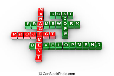 Crossword of project management - 3d illustration of...