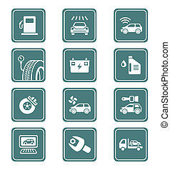 Car service icons | TEAL series - Car care, tuning, repair,...