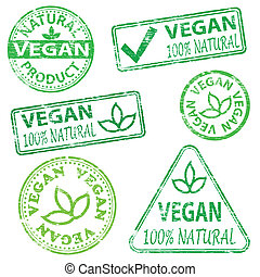 Vegan Stamps - Vegan and natural food Rubber stamp vector...