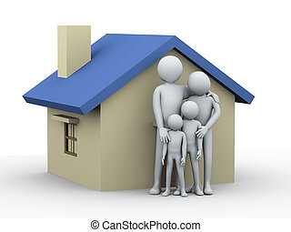3d family and house - 3d illustration of mother and father...