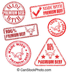 Premium Beef Stamps - Made with premium beef. Rubber stamp...