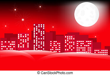 moon in city skyline