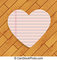 Heart of paper on wood background