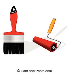 brush and roller vector illustration