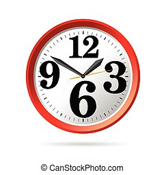 clock in red vector illustration part two