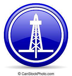 drilling blue glossy icon on white background - blue glossy...