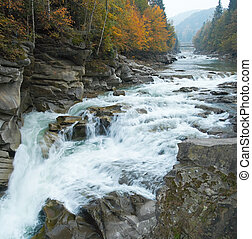 Mountain river - Autumn mountain river view with waterfall...