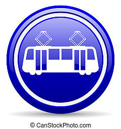tram blue glossy icon on white background - blue glossy...