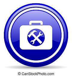 toolkit blue glossy icon on white background - blue glossy...