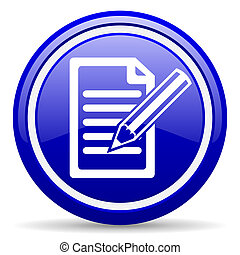 notes blue glossy icon on white background - blue glossy...
