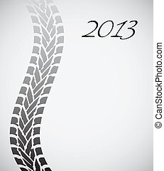 road tire track with special design, 2013 background