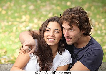Couple in a park watching where the man points
